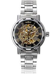 levne -WINNER Pánské mechanické hodinky Náramkové hodinky Automatické natahování S dutým gravírováním Nerez Kapela Přívěšky Stříbro