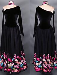 Shall We Latin Dance Dresses Women's Performance Chiffon Satin / Spandex Pleated 1 Piece Black