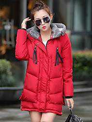 Women's Regular Down Coat,Simple Casual/Daily Solid-Cotton Polyester Without Filling Material Long Sleeve Hooded