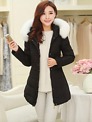 Women's Regular Down Coat,Simple Street chic Casual/Daily Holiday Solid-Cotton Polyester Nylon Without Filling Material Long Sleeves