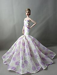 tanie Ubranka dla lalek Barbie-Impreza/Wieczór Sukienki Dla Lalka Barbie Koronka Satyna Ubierać Dla Dziewczyny Lalka Zabawka