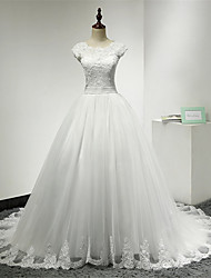 Ball Gown Scoop Neck Chapel Train Lace Tulle Wedding Dress with Ruffle by DRRS