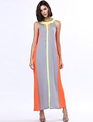 cheap -Women's A Line Swing Dress - Color Block, Cut Out High Rise Maxi