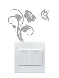 cheap -AYA™ DIY Wall Stickers Wall Decals, Butterfly & Flower Type PVC Switch Panel Stickers  10*13cm