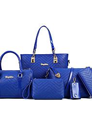 baratos -Mulheres Bolsas PU Conjuntos de saco 6 Pcs Purse Set Preto / Rosa / Fúcsia / Conjuntos de sacolas