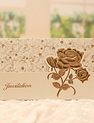 Tri-Fold Wedding Invitations 50-Invitation Cards Classic Style Floral Style Pearl Paper