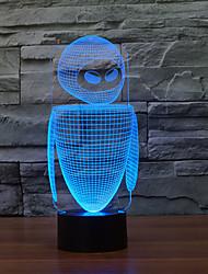 Недорогие -рисунок робот 3 d лампа цветной сенсорный привело видение лампы подарок атмосфера настольная лампа с изменением цвета свет ночи