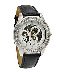 abordables -WINNER Mujer Cuerda Manual El reloj mecánico Gran venta Banda Destello Negro