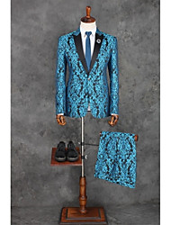 cheap -Ocean Blue Patterns Tailored Fit Polyester Suit - Peak Single Breasted One-button