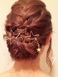 European Style Gold Star Shape Hair Clip Barrette Pins for Lady Casul Hair Jewelry