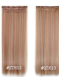 baratos -clipe sintético em extensões do cabelo 24inch 5 clips # 27/613 fibra de resistência ao calor grampo de cabelo em linha reta em alto grau