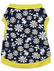 Недорогие -Кошка Собака Футболка Одежда для собак Цветочные / ботанический Черный / Желтый Хлопок Костюм Назначение Лето Муж. Жен. Мода