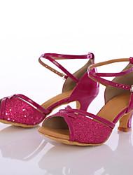 Women's Latin Paillette Heel Indoor Customized Heel Fuchsia Customizable