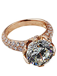 Lotus Style Genuine 18K Rose Gold Plated 10mm 4CT Hearts and Arrows SONA Diamond Ring Female Sterling Silver Pt950 Print