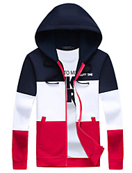 Men's Fashion Patchwork Hooded Slim Fit Sport Cardigan Sweatshirt; Casual/Plus Size/Sport