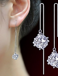 cheap -Women 925 Fine Silver Tassl Drop Zircon Earrings for Wedding Party