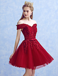 cheap -A-Line Princess Off Shoulder Short / Mini Tulle Beaded Lace Cocktail Party / Homecoming Dress with Appliques Bow(s) by MYF
