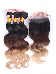 "cheap -10""-30"" Ombre Hair Eurasian Virgin Hair Body Wave With Lace Closure Human Hair Weft  Natural Black Baby Hair"