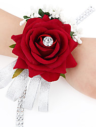 cheap -Wedding Flowers Free-form Satin Roses Wrist Corsages Wedding 1 Peice Fuchsia / Red / Green / Beige