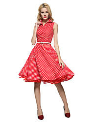 cheap -Maggie Tang Women's Vintage Swing Dress - Polka Dot, Pleated Shirt Collar