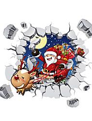 Jul Vægklistermærker 3D mur klistermærker Dekorative Mur Klistermærker Materiale Vaskbar Kan fjernes Kan genpositioneres Hjem Dekoration