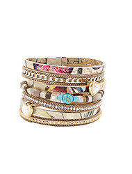 Fashion Women Multi Rows Stone & Pearl Set Leather Bracelet