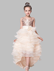 cheap -Ball Gown Asymmetrical Flower Girl Dress - Organza Satin Sequined Sleeveless Jewel Neck with Sequin Bow(s) by LAN TING Express