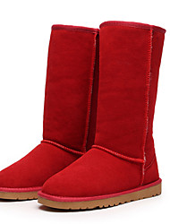 cheap -Women's Shoes Leather / Winter Snow Boots / Fashion Boots Outdoor / Flat Heel Fur Black / Brown / Yellow / Red / Gray
