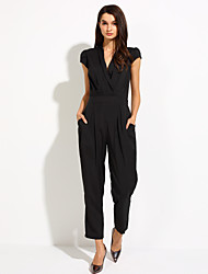 Women's Work Simple Solid V Neck Jumpsuits,Slim Short Sleeve Summer Polyester
