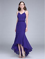 cheap -Mermaid / Trumpet Spaghetti Straps Asymmetrical Chiffon Bridesmaid Dress with Pleats by LAN TING BRIDE®