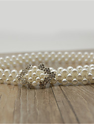 Bead Elastic Wedding Party/ Evening Sash With Rhinestone Imitation Pearl