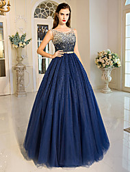 cheap -Ball Gown Princess Jewel Neck Floor Length Tulle Formal Evening Dress with Beading Crystal Detailing Sequins by QZ