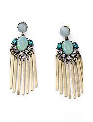 cheap -European Luxury Gem Geometric Earrrings Long Tassel Drop Earrings for Women Fashion Jewelry Best Gift