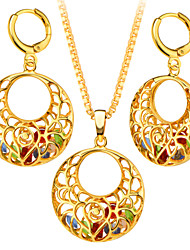 Classic Luxury Colorful Stones In Special Round 18K Gold Plated Necklace&Earrings For Women Party Wedding Gift S20181
