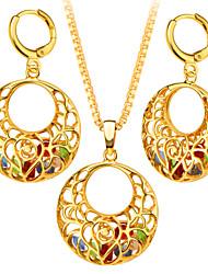 Набор украшений Ожерелье / серьги Мода Позолота Круглый Геометрической формы Золотой Ожерелья Серьги ДляСвадьба Для вечеринок