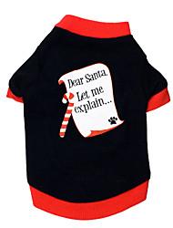 Недорогие -Кошка Собака Футболка Одежда для собак Буквы и цифры Черный/Красный Хлопок Костюм Для домашних животных Муж. Жен. Рождество
