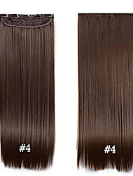 "cheap -Clip in Synthetic Hair 24"" 60cm 120g #4 Long Straight  Clip in hair extensions pieces 5 clips high temperature fiber"
