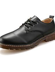 Muškarci Sneakers Proljeće Jesen Udobne cipele Koža Aktivnosti u prirodi Ležeran Ravna potpetica Vezanje Crna