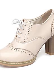 preiswerte -Damen Schuhe Kunstleder Frühling Herbst High Heels Blockabsatz Schnürsenkel für Kleid Party & Festivität Weiß Beige Rosa