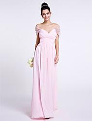 cheap -Sheath / Column Off Shoulder Floor Length Chiffon Bridesmaid Dress with Criss Cross by LAN TING BRIDE®