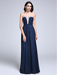 cheap -Sheath / Column Sweetheart Floor Length Chiffon Prom / Formal Evening Dress with Beading Ruched by TS Couture®