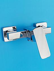 Недорогие -Современный Modern Только душ Широко распространенный Керамический клапан Два отверстия Одной ручкой Два отверстия Хром, Смеситель для