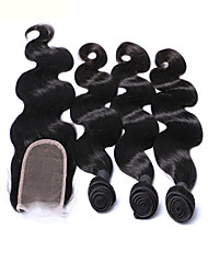 cheap -Mekywell 3Pcs Hair Weft and Free Hair Closure Brazilian Virign In Body Wave Hair Weaves