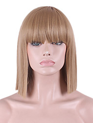 cheap -Synthetic Wig Straight / Yaki Bob Haircut / With Bangs Synthetic Hair Natural Hairline Brown Wig Women's Mid Length Capless