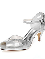 cheap -Women's Shoes PU Spring Summer Comfort Low Heel Peep Toe for Wedding Party & Evening Dress Silver