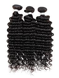 Недорогие -Натуральные волосы Малазийские волосы Человека ткет Волосы Глубокие волны Наращивание волос 3 предмета Естественный цвет