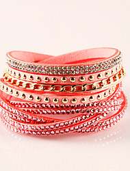 cheap -Women's Leather Bracelet Wrap Bracelet Bohemian Fashion Adorable Leather Rhinestone Imitation Diamond Alloy Geometric Jewelry Party Daily