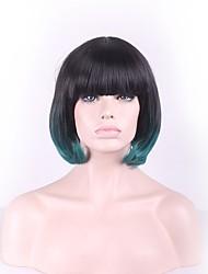 abordables -Pelucas sintéticas Recto Corte Bob / Con flequillo Pelo sintético Pelo Ombre Verde Peluca Mujer Sin Tapa