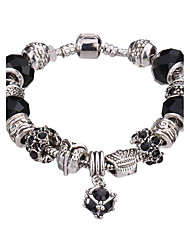 cheap -Lucky Doll Vintage Silver Plated Gemstone & Crystal / Cubic Zirconia Link/Chain / Beaded / Charm Bracelet #YMGP1015 Christmas Gifts