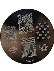 cheap -1pcs Nail Art Stamping Plate Small Round Shape Plate Geometric Image Manicure Tools  STZ31-35